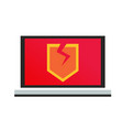 a computer with a virus broken shield vector image