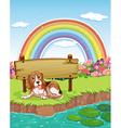 Dog and rainbow vector image