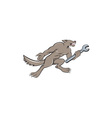Wolf Mechanic Spanner Isolated Cartoon vector image vector image