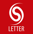 logo spun letter S on a red background vector image vector image