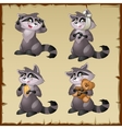 Four cute raccoons on a parchment background vector image