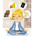 Lovely business lady is engaged in meditation vector image vector image