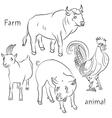 bull cock goat pig vector image