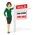 real estate agent standing next to sale sign vector image
