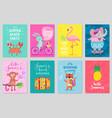 animals card set hand drawn style summer theme vector image