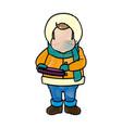 character man carols singer at a winter clothes vector image