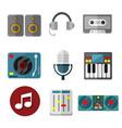 music intrument equipment graphic set vector image