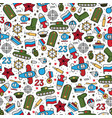 seamless pattern of military icons on a white vector image