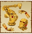 Set of the golden robot parts arm head and other vector image