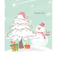 Snowman with tree vector image