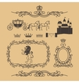 Vintage royal and princess decor elements vector image