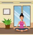 woman practice yoga meditacion vector image