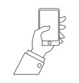 hand businessman with smartphone device outline vector image