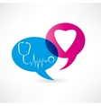 flat speech bubble icon with medical items vector image vector image