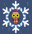 Christmas holiday print with cute owl vector image