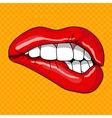 Pretty Female Lips in Retro Pop Art Style vector image