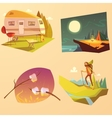 Camping And Hiking Cartoon Set vector image