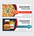 discount voucher fast food template design set of vector image