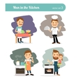 Man cooking in kitchen vector image