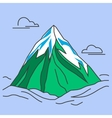 Green mountain with snowy peak and clouds vector image