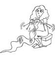 Knitter woman cartoon vector image