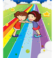 Two girls holding their hands at the colorful road vector image vector image