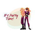glam rock party invitation banner poster template vector image