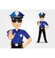 policeman with sunglasses showing stop gesture vector image
