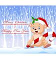 Cartoon funny baby bear holding Christmas candy vector image