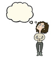cartoon woman looking upwards with thought bubble vector image