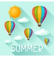 Summer background with hot air balloons Image for vector image vector image