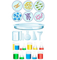 Set of science containers and bacteria on tray vector image