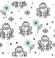 funny frogs grey and blue seamless pattern vector image
