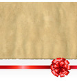 Retro Ripped Paper Banner With Red Bow vector image