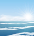 Sea Landscape Sunrise surf Ocean vector image