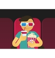 Young guy sitting in the cinema vector image