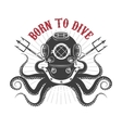 octopus with diver helmet and two tridents vector image
