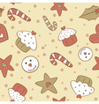 Christmas gingerbread cookies seamless pattern vector image