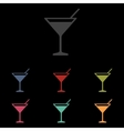 Coctail icon set vector image