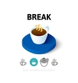 Break icon in different style vector image