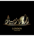 Gold silhouette of London on black background vector image