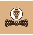 hipster dog symbol bow tie design vintage vector image