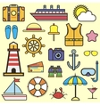 Outline web icon set of journey vacation cruise vector image