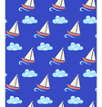 Seamless sea pattern Yacht on wave and cloud on vector image