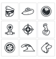 Set of Submarine Icons Captain Boat vector image