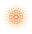 Sun burst round orange particles sign vector image