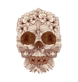 Vintage flowers skull composition vector image