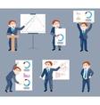 Set of businessman holds presentation vector image