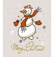 Merry Christmas hand drawn lettering with snowman vector image