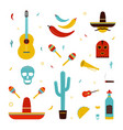 set on a mexico theme different mexican bright vector image